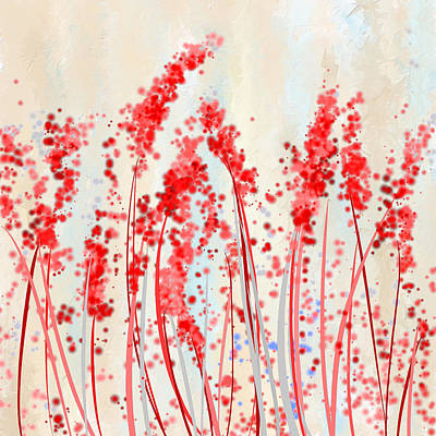 Red Abstract Painting - Tinge Of Passion- Cream And Red Art by Lourry Legarde