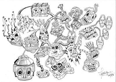 Circuit Drawing - Tinheads by Debbie McIntyre