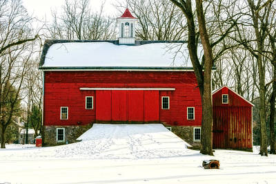 Tinicum Barn In Winter II Art Print