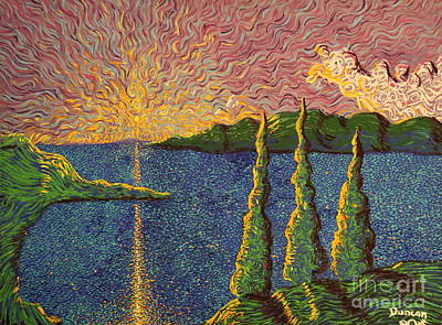 Sun Rays Painting - Tinity Lake Series by Stefan Duncan