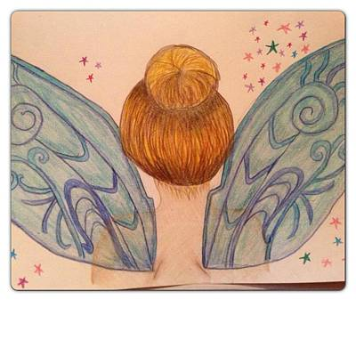 Hair Bun Drawing - Tinker Bell by Oasis Tone