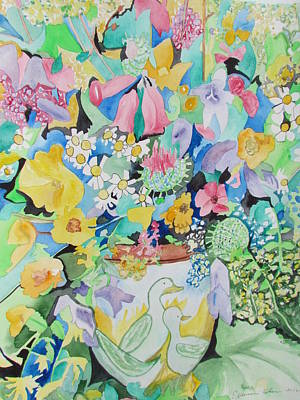Tinkerbell Painting - Tinkerbells And Duckies by Esther Newman-Cohen