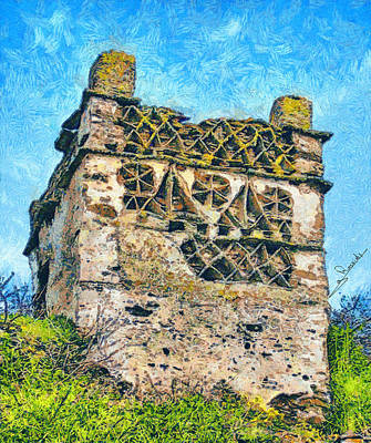 Fauna Painting - Tinos Dovecotes 1 by George Rossidis