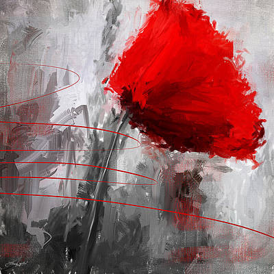 Florals Digital Art - Tint Of Red by Lourry Legarde