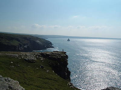 Photograph - Man On The Edge Tintagel by Richard Brookes