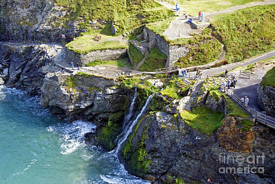 Uther Pendragon Photograph - Tintagel Waterfalls by Rod Jones