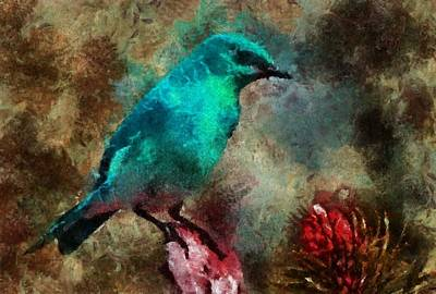 Digital Art - Tinted Blue Bird by T T