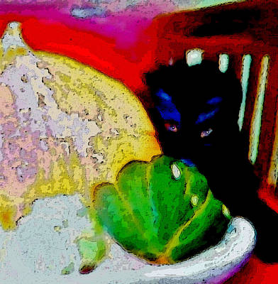 Art Print featuring the painting Tiny Black Kitten by Lisa Kaiser
