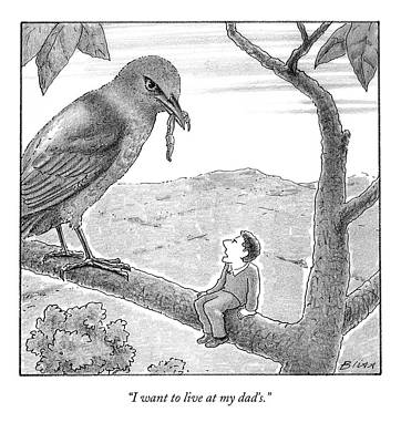 Worm Drawing - Tiny Man Looks Up At Bird As He Sits On A Branch by Harry Bliss