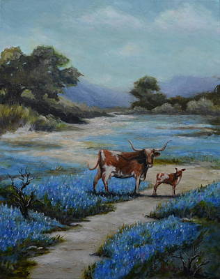 Longhorn Pasture Painting - Tiny T In Bluebonnets by Karen Butcher