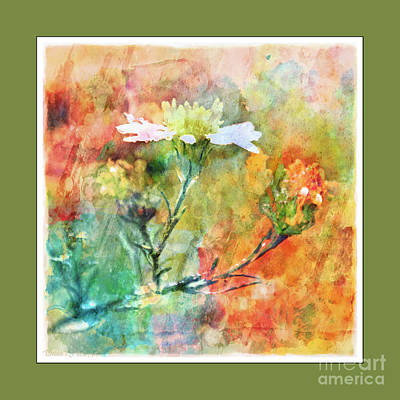 Photograph - Tiny Wildflowers - Digital Paint IIi Green Frame by Debbie Portwood