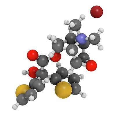 Atomic Image Photograph - Tiotropium Bromide Copd Drug Molecule by Molekuul