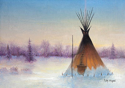 Indian Tribal Art Painting - Tipi In Winter by Kathy Weigand