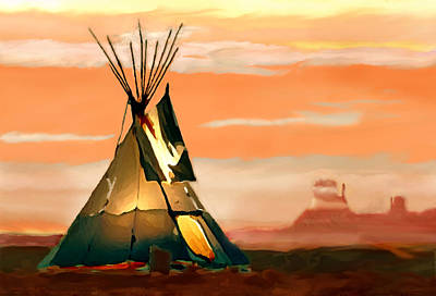 Painting - Tipi Or Tepee Monument Valley by Bob and Nadine Johnston