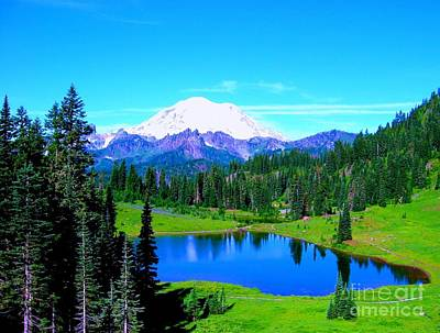 Tipsoo Lake Mount Rainier Art Print by Ann Johndro-Collins