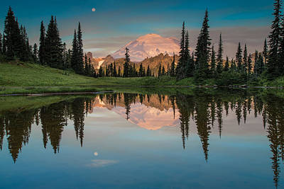 Waterfall Photograph - Tipsoo Lake Mt. Rainier Washington by Larry Marshall