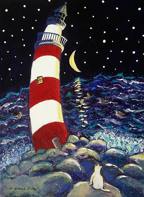 Lighthouse At Night Painting - Tipsy Lighthouse With White Cat by Deborah Burow