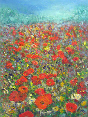 Painting - Tiptoe Through A Poppy Field by Richard James Digance