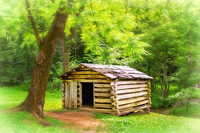 Photograph - Tipton Place Log Shed by Carolyn Derstine