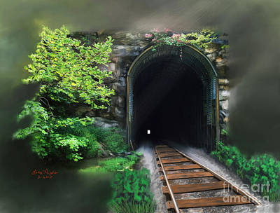 Sun Rays Digital Art - Tiptop Train Tunnel by Lena Auxier