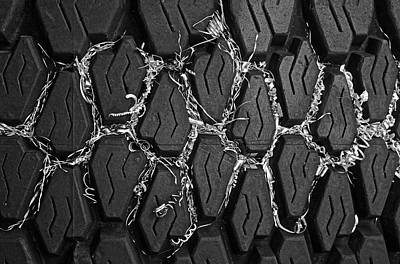 Found Object Art Photograph - Tire And Metal Shavings by Andrew Wohl