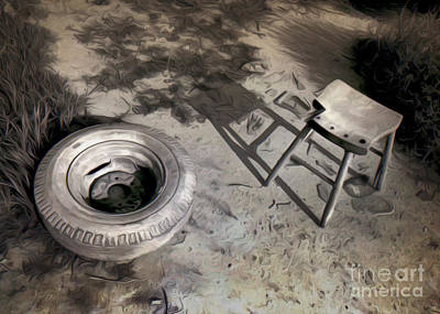 Tire And Stool Art Print by Gregory Dyer