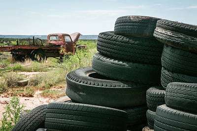 Junk Photograph - Tire Pile At A Junk Yard, Cuervo, New by Julien Mcroberts