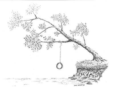 Drawing - Tire Swing by Dan Haley