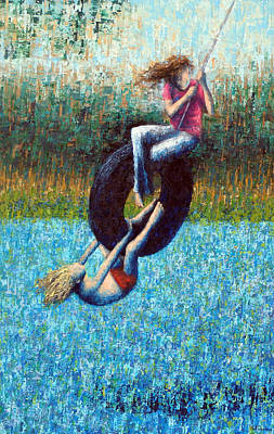 Painting - Tire Swing by Ned Shuchter