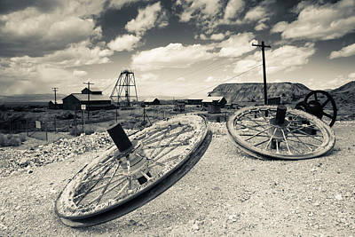 Tonopah Photograph - Tire With Desert Queen Hoist House by Panoramic Images