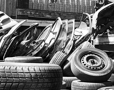Photograph - Tired Tires Bw by Laurie Tsemak