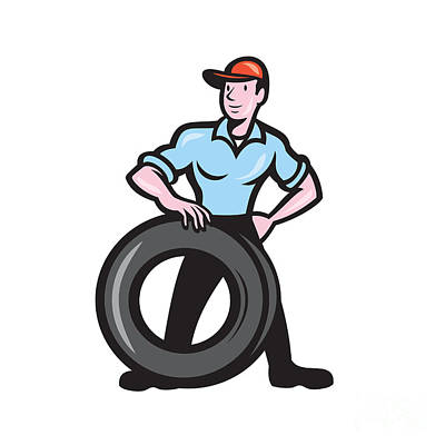 Tireman Mechanic With Tire Cartoon Isolated Art Print by Aloysius Patrimonio