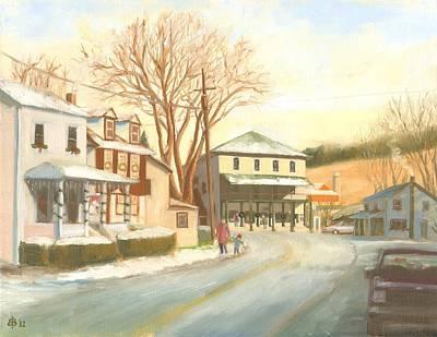 Streetscape Painting - 'tis The Season In Liberty by Bibi Snelderwaard Brion