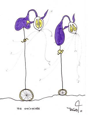 Tisart Drawing - Tis Unicycles by Tis Art