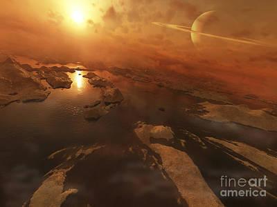 Titan Boasts Liquid Hydrocarbon Lakes Art Print by Steven Hobbs