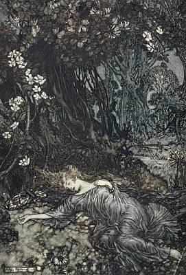 Drawing - Titania Lying Asleep, Illustration by Arthur Rackham