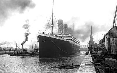 White Steamer Photograph - Titanic In Southampton Harbor by Daniel Hagerman
