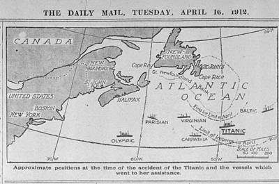 Hms Photograph - Titanic Location Map by British Library