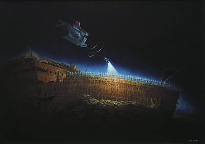 Ship Wreck Painting - Titanic Wreck Save Our Souls by Martin Davey