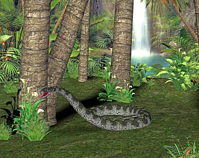 Titanoboa Prehistoric Snake Art Print by Friedrich Saurer