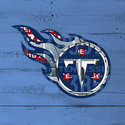 Football Mixed Media - Titans Football Team Retro Logo Recycled Tennessee License Plate Art by Design Turnpike