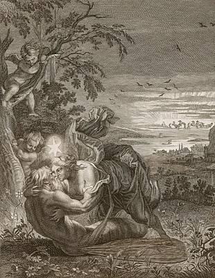 Change Drawing - Tithonus, Auroras Husband, Turned Into A Grasshopper by Bernard Picart