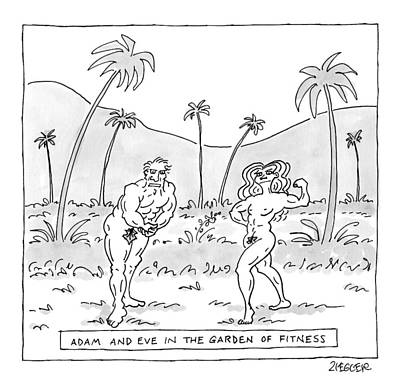 Muscular Drawing - Title: Adam And Eve In The Garden Of Fitness by Jack Ziegler