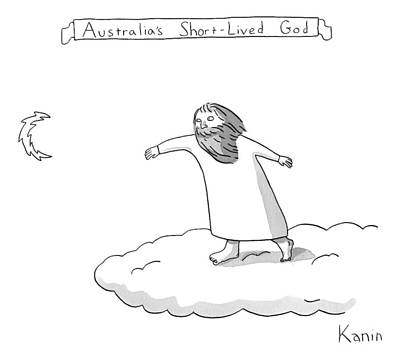 Australia Drawing - Title: Australia's Short-lived God. A God Throws by Zachary Kanin