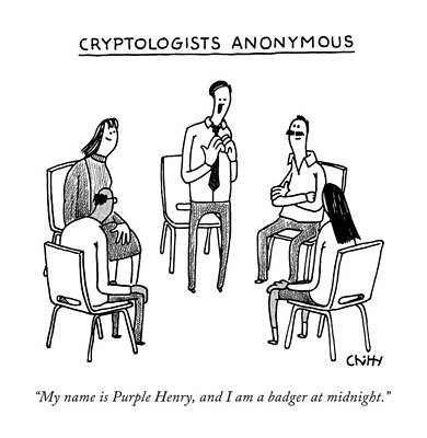 Tom-chitty Drawing - Title: Cryptologists Anonymous by Tom Chitty