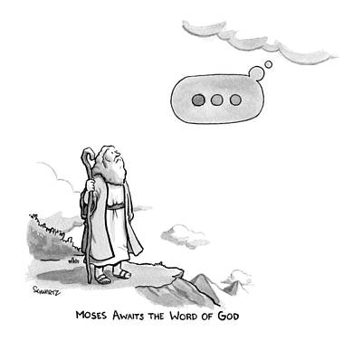 Apple Drawing - Title: Moses Awaits The Word Of God Moses Looks by Benjamin Schwartz