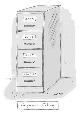 Drawing - Title: Organic Filing. A File Cabinet Has Drawers by Kim Warp