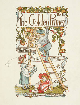 Walter Crane Photograph - Title Page For The Golden Primer by British Library