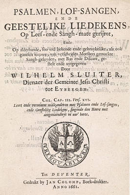 Open Mind Drawing - Title Page For Willem Sluiter, Psalms, Psalmen by Litz Collection
