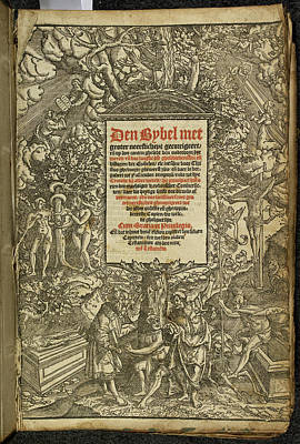 Book Title Photograph - Title Page From A Dutch Bible by British Library